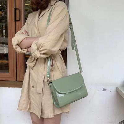 CHARMII CHIC 韓國chic純色光面漆皮復古小方包