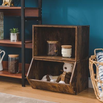 樂嫚妮 收納櫃/置物櫃/玩具櫃/空櫃-2入組-仿木色