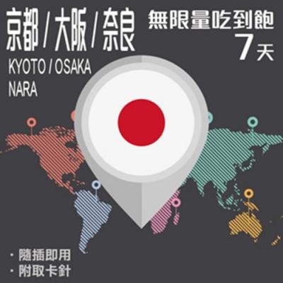 【PEKO】大阪 京都 奈良上網卡 7日高速4G上網 無限量吃到飽 優良品質高評價