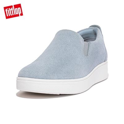 【FitFlop】RALLY SUEDE SLIP-ON SNEAKERS 易穿脫時尚休閒鞋-女(灰藍色)