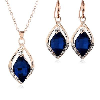 RJ New York 藍色微風水晶鋯石項鍊耳環2件套組