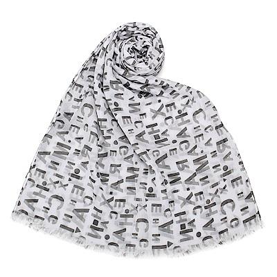 Armani Exchange 經典滿版LOGO純棉薄圍巾-白/黑