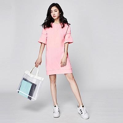 SUITANGTANG 羅紋造型純棉洋裝-粉