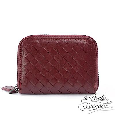 La Poche Secrete 編織小羊皮拉鍊卡夾包-酒紅色