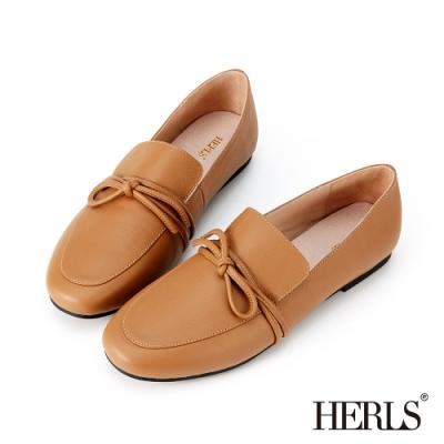 HERLS樂福鞋-全真皮打結圓頭超軟平底鞋樂福鞋-駝色