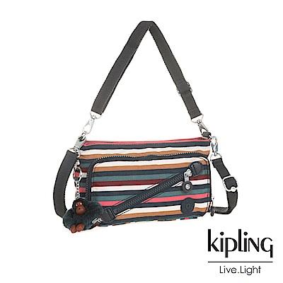 Kipling繽紛仲夏條紋斜拉鍊肩背包