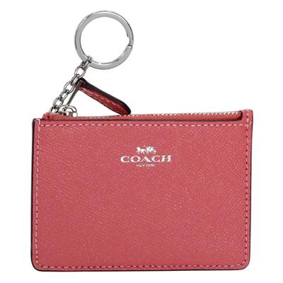 COACH珠光牡丹粉防刮皮革後卡夾鑰匙零錢包