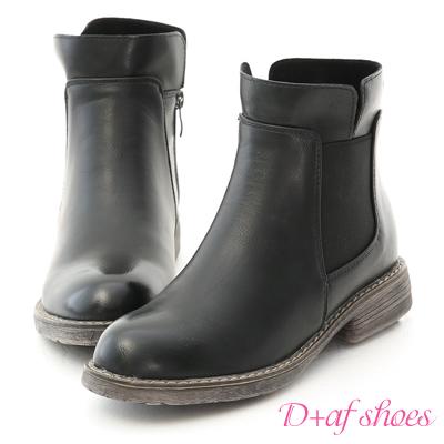 D+AF 街頭率性.側鬆緊拼接軍風短靴*黑