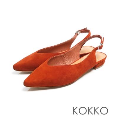 KOKKO - 微甜布朗尼純色後拉帶尖頭平底鞋-磚橘紅