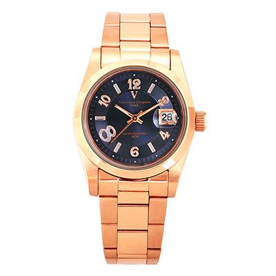 Valentino Coupeau 范倫鐵諾 古柏 都會數字腕錶 (全玫/藍面/男錶)