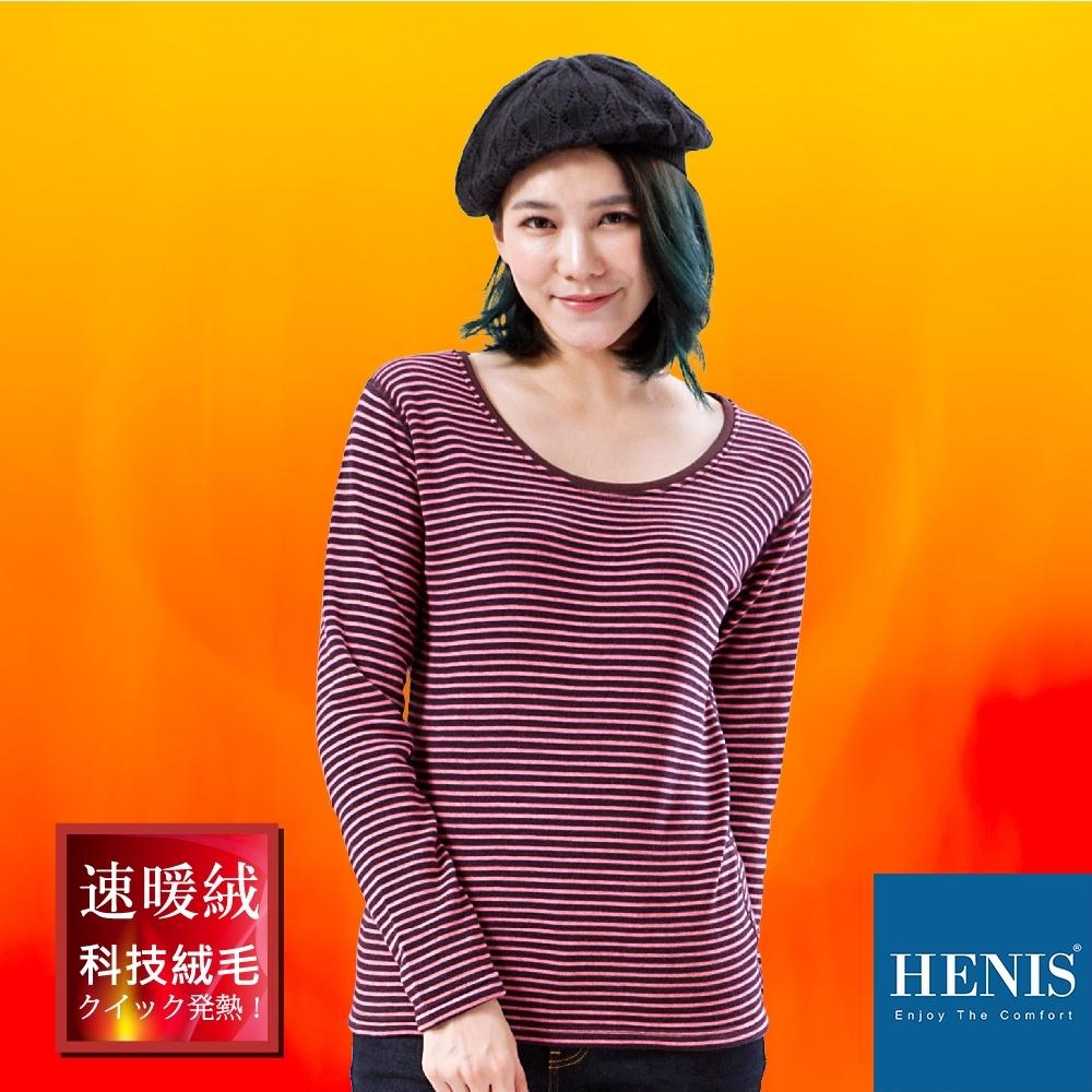 HENIS 禦寒時裳 速暖羽式絨毛發熱衣 印花圓領 (咖啡/粉條紋)