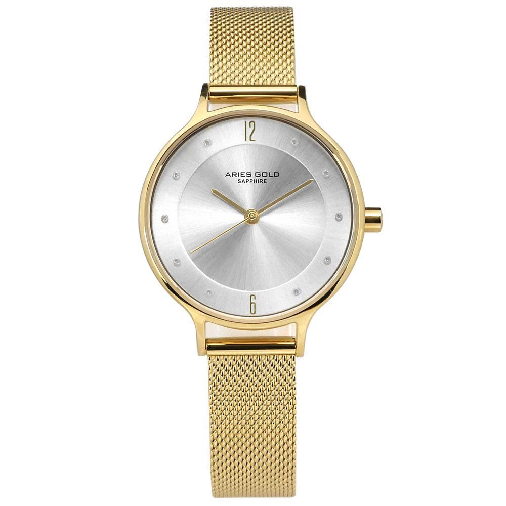 ARIES GOLD 典雅 晶鑽 藍寶石水晶玻璃 米蘭編織不鏽鋼手錶-銀x鍍金/30mm