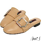 Ann'S個性派女子-不破內裡訂製份量金釦皮革穆勒鞋-棕(版型偏小)