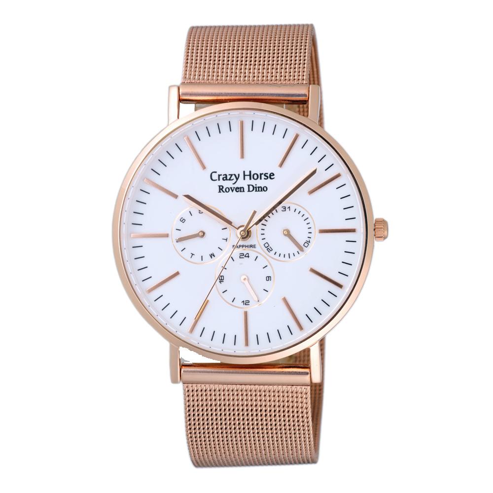 Roven Dino羅梵迪諾 永恆光彩輕薄三眼米蘭腕錶-玫瑰金X白