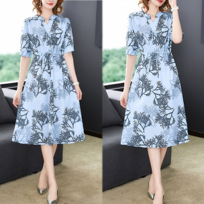 【韓國K.W.】歡樂單品紳士品格收腰印花洋裝-2色