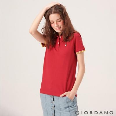 GIORDANO 女裝企鵝刺繡彈力萊卡POLO衫-24 標誌紅