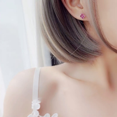 梨花HaNA 韓國925銀微小四葉草桃紅耳環