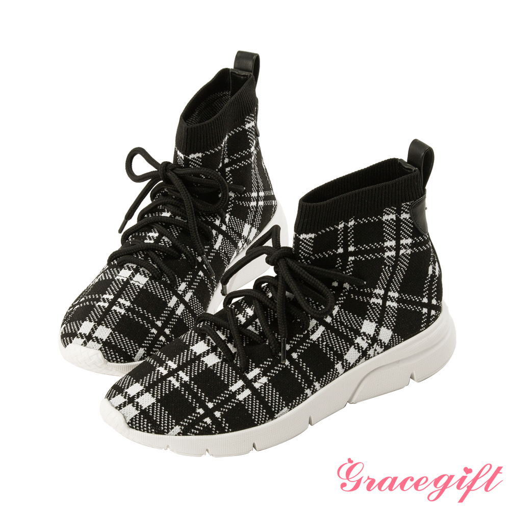 Grace gift X Kerina-聯名綁帶2WAY低筒襪套鞋 格紋