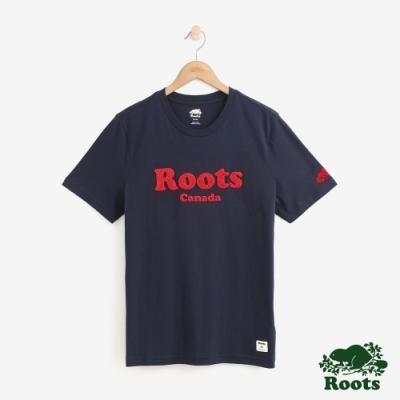 男裝Roots 雪妮爾繡線LOGO短袖T恤-藍