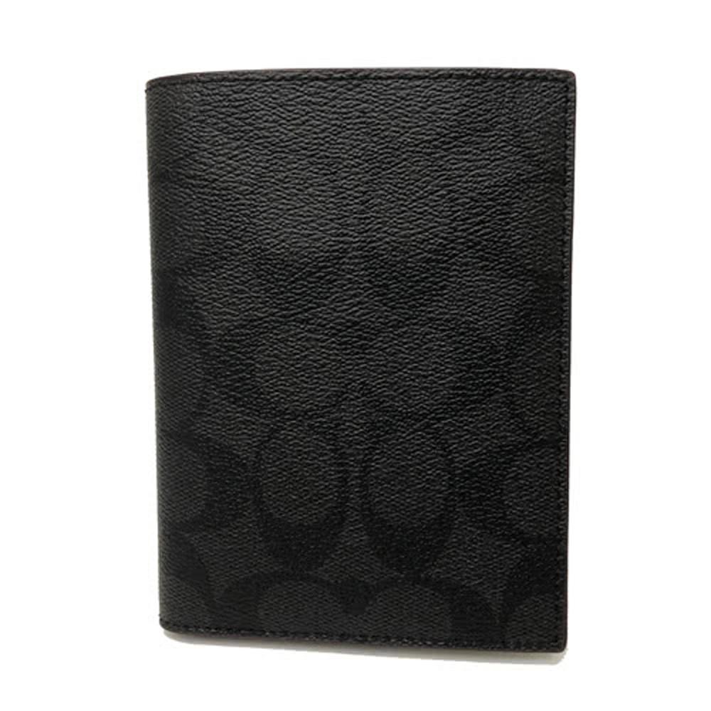 COACH 經典C LOGO PVC防刮皮革證件護照夾(黑褐)