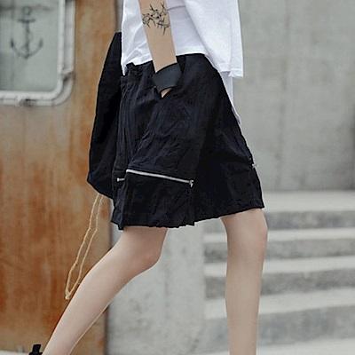 設計所在Style-新款夏季港風拉鏈褶皺短褲中褲