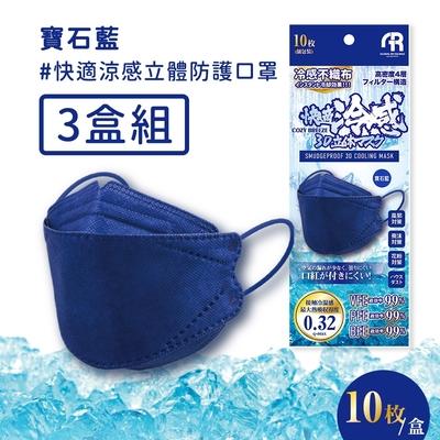 日本COZY BREEZE 快適涼感小顏K94立體防護口罩(10入*3盒)-寶石藍
