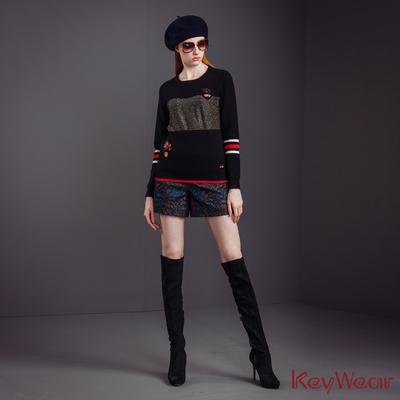 KeyWear奇威名品    俏麗刺繡星空緹花短褲-黑色