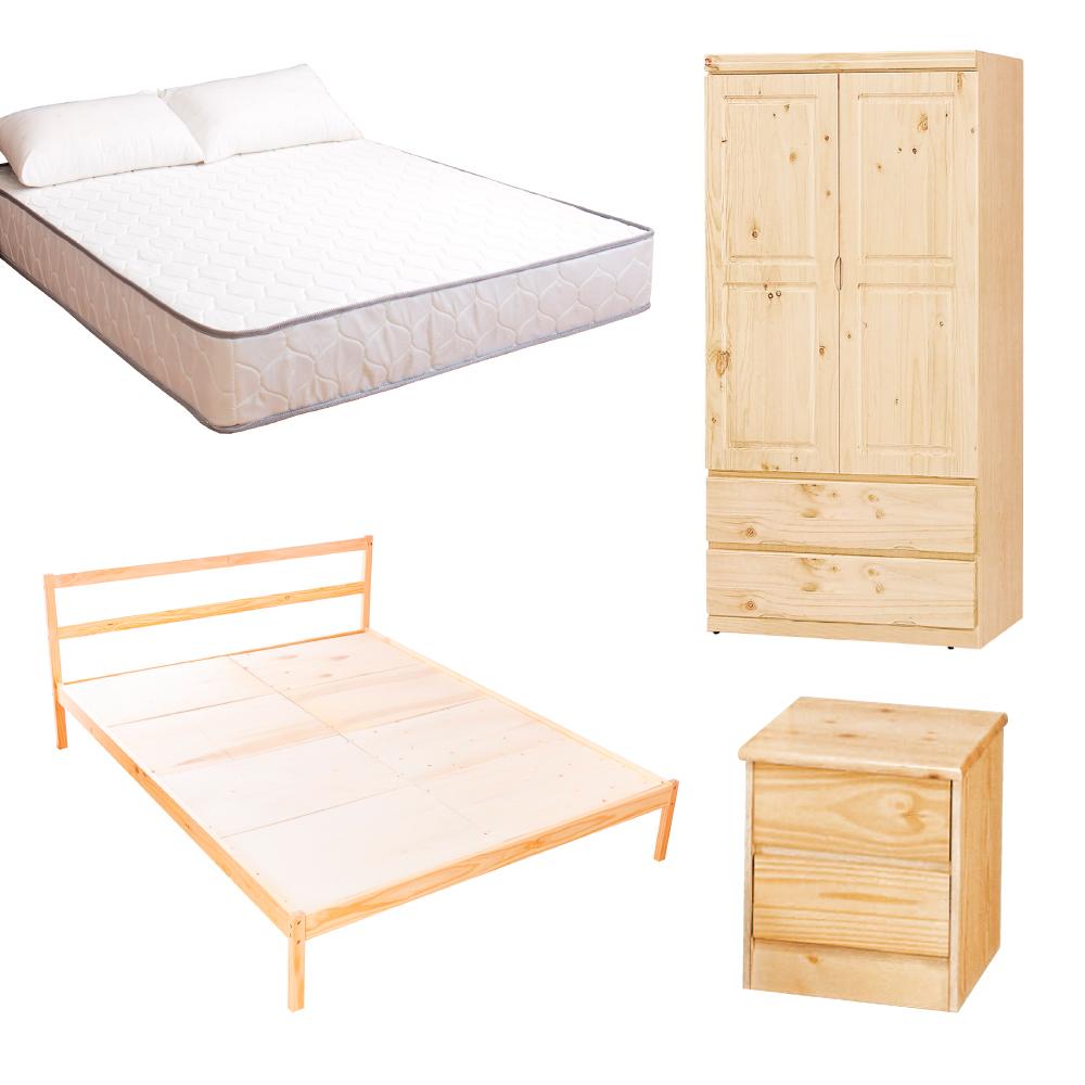 AS-頂級松木雙人床四件房間組(床架+床墊+床頭櫃+衣櫥)