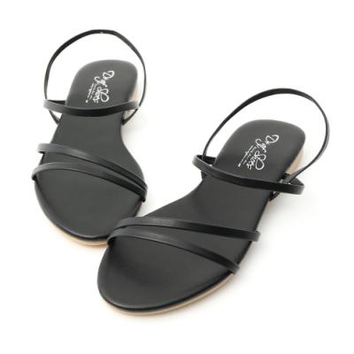 D+AF 夏氛首選.精緻細帶平底涼鞋*黑