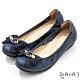 DIANA 3.5公分金屬圓環珍珠飾釦蝴蝶結楔型娃娃鞋-藍寶石 product thumbnail 1