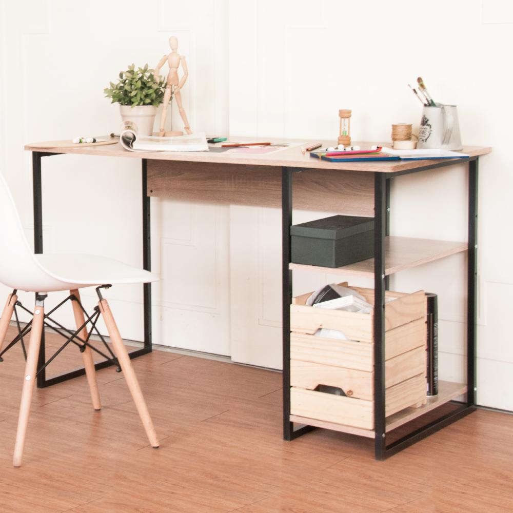 《HOPMA》DIY巧收工業風單邊層架工作桌-寬120 x深60 x高74.5cm