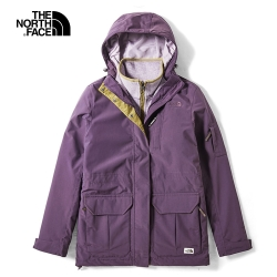 The North Face北面女款紫色防水保暖戶外三合一外套|3VUEG03