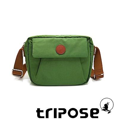 tripose PAN微皺尼龍橫式斜背包-草地綠