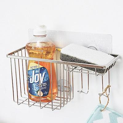 樂貼工坊 洗碗精架/菜瓜布架/肥皂架/304不鏽鋼扁鐵/無痕貼
