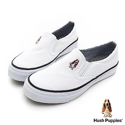 Hush Puppies  經典中性咖啡紗懶人鞋-白色