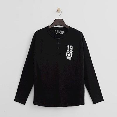 Hang Ten - 男裝 - 素面鈕扣T恤-黑色
