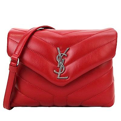 YSL Saint Laurent 銀LOGO牛皮Y字縫線翻小斜背包(紅)