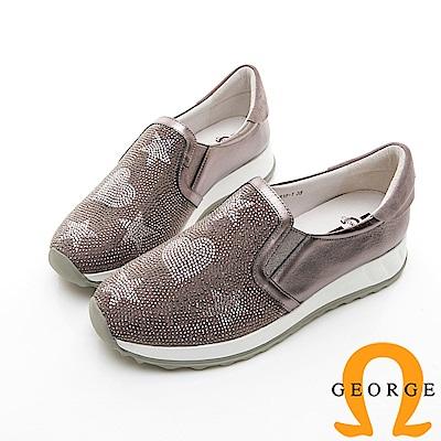 【GEORGE 喬治皮鞋】俏皮水鑽舒適彈力拼接厚底休閒鞋-銀色