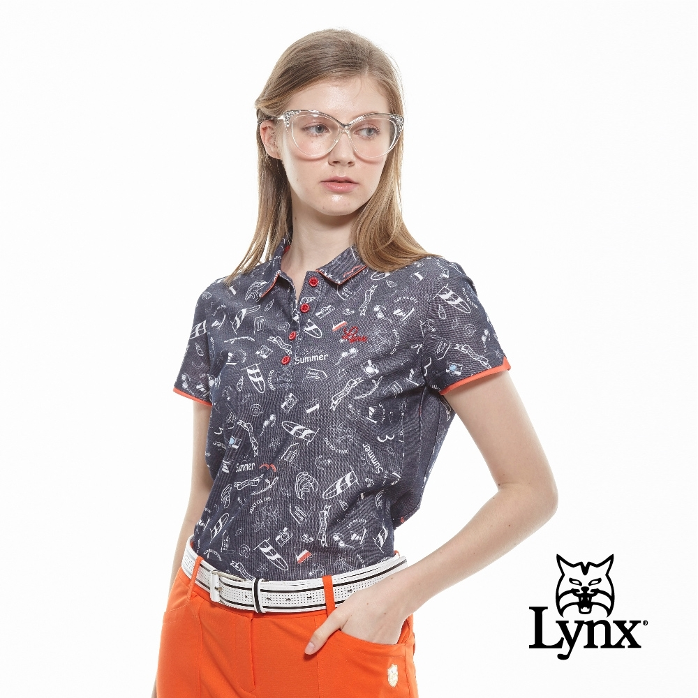 【Lynx Golf】女款吸濕排汗抗UV夏季海洋風短袖POLO衫-深藍色