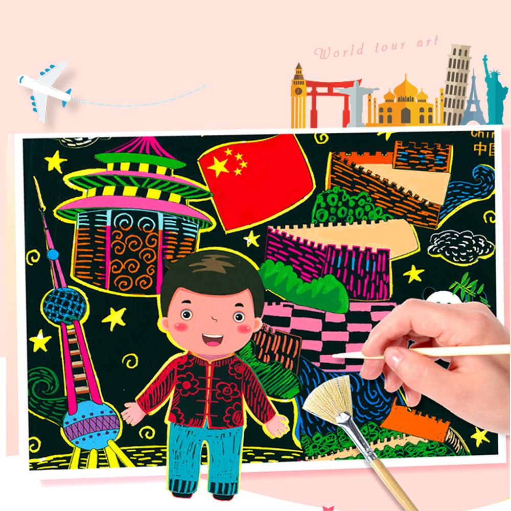 Conalife 世界之旅DIY填色炫彩手工刮畫(超值2入組)