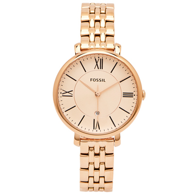 FOSSIL 羅馬優雅風的不鏽鋼手錶(ES3435)-淡香檳色面X玫瑰金/36mm