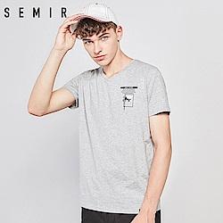 SEMIR森馬-顯瘦V型領口印花造型短袖T恤-男