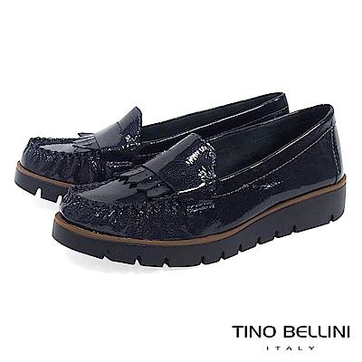 Tino Bellini 巴西進口輕量金屬皮紋莫卡辛鞋 _ 藍