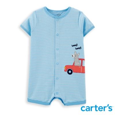 【Carter s】 小駱馬去旅遊淡藍橫紋連身裝(6M-24M) 任選 (台灣總代理)