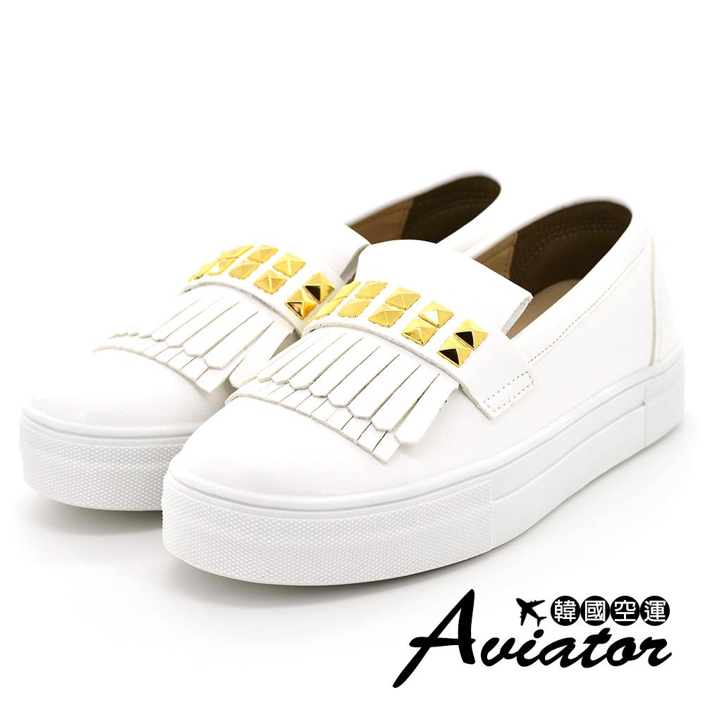 Aviator*韓國空運-流蘇金屬繞面皮革厚底懶人鞋-白