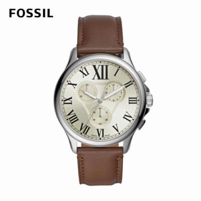 FOSSIL Monty 羅馬數字銀白三眼男錶 棕色真皮皮革錶帶 44MM FS5638