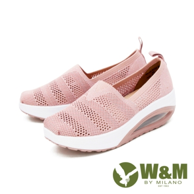 W&M (女)飛織縷空彈力厚底增高鞋 女鞋 - 粉(另有藍)