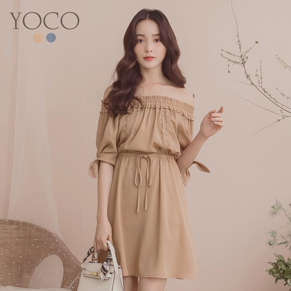 東京著衣-YOCO  婉約淑女腰綁帶一字花領洋裝-S.M.L(共兩色)