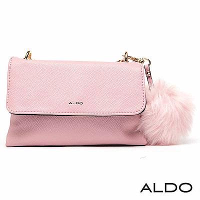 ALDO 原色綴毛球吊飾磁吸釦式手提肩背兩用包~氣質粉色