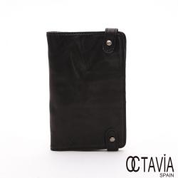 OCTAVIA 真皮- LET s GO 頭層抛光羊皮護照卡片二折短夾 - 隨身黑